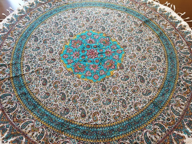 Home & Garden Home & Living Lounge & Dinning Room : Round Persian Tablecloth (120 cm), Handmade