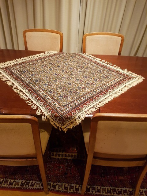 Home & Garden Home & Living Lounge & Dinning Room : Handmade Tablecloth (80x80 cm), Persian Cotton Tablecloth, Washable Tablecloth, Ghalamkar