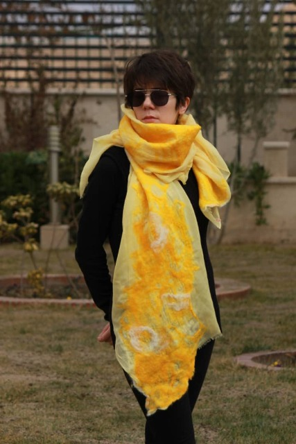 Fashion Women Accessories : Handmade felted shawl, Yellow felt scarf for women, brand new, Wool Shawl