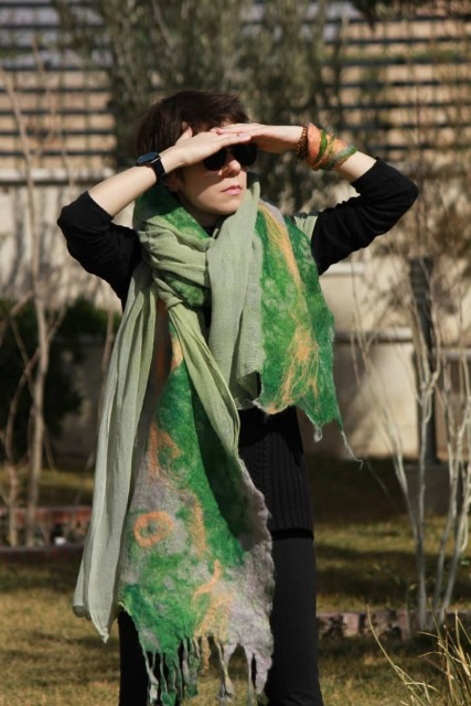 Fashion Women Accessories : Handmade felted shawl, Green felt scarf for women, brand new, Wool Shawl