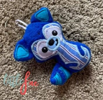 Baby & toys Toys & games Soft toys : Blue Stripe Racoon Keyring, Soft Toy, Soft Toy Keychain