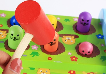 Baby & toys Toys & games Educational toys : INTERACTIVE JUNGLY WHACK A MOLE SET, WOODEN TOY