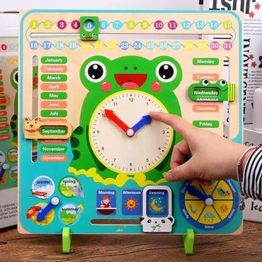 Baby & toys Toys & games Educational toys : MONTESSORI WOODEN CLOCK TOY, WOODEN TOY, EDUCATIONAL TOY