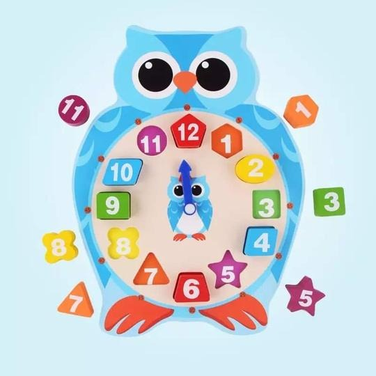 Baby & toys Toys & games Educational toys : MONTESSORI WOODEN OWL CLOCK TOY, WOODEN TOY, EDUCATIONAL TOY