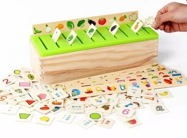 Baby & toys Toys & games Educational toys : MONTESSORI WOODEN SORTING BOX TOY, WOODEN TOY