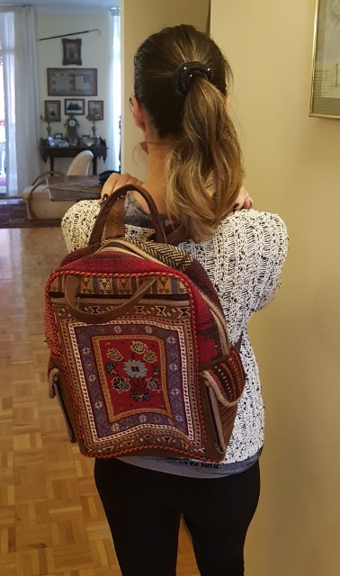 Fashion Women Bags & Wallets : Stunning Persian Kilim Backpack, Ladies bag, Girls Backpack, Handmade Backpack 30 x 38 cm