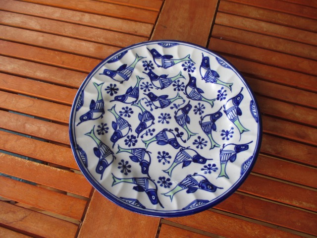 Home & Garden Home & Living Kitchen : Flat dinning plates, bird pattern, Persian Pottery, Colourful Ceramic