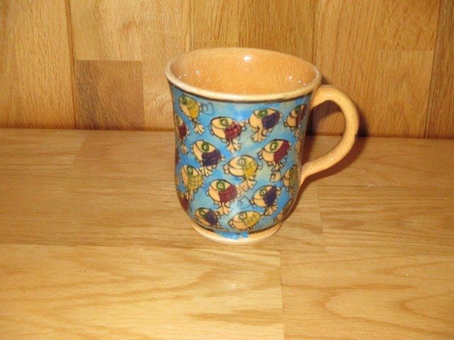 Home & Garden Home & Living Home Decor : Beautiful Persian pottery, hand-made and hand-painted mug, fish pattern cup