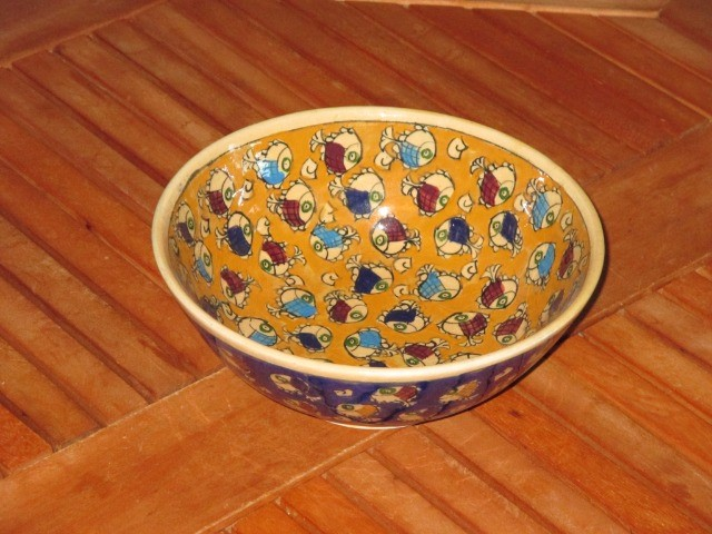 Home & Garden Home & Living Kitchen : Beautiful Persian pottery, hand-made and hand-painted bowl, fish pattern bowl