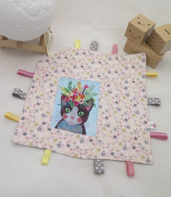 Baby & toys Baby Accessories : Taggy Blanket – Cat with Floral Crown Fabric, Handmade Blanket, Baby Blanket