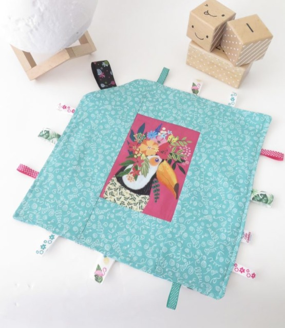 Baby & toys Baby Accessories : Taggy Blanket – Toucan with Floral Crown Fabric, Handmade Blanket, Baby Blanket