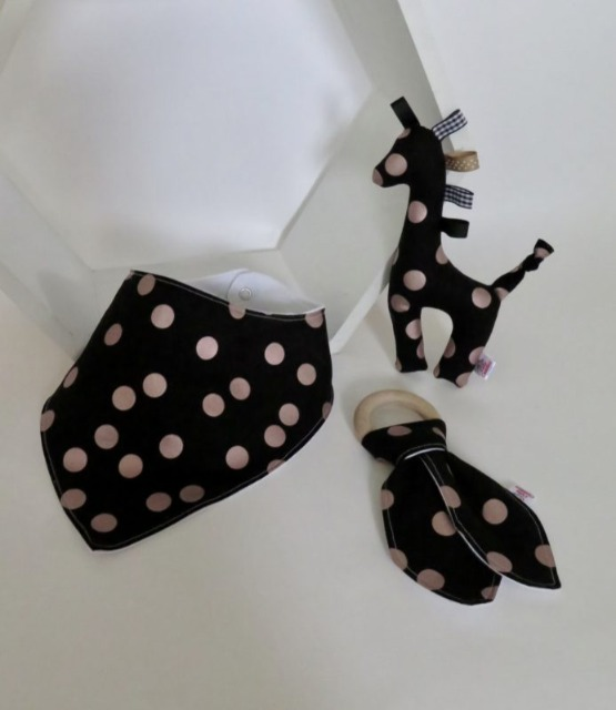 Baby & toys Baby Accessories : Teething Set – Spot Black and Gold Fabric, Handmade Teething Toys